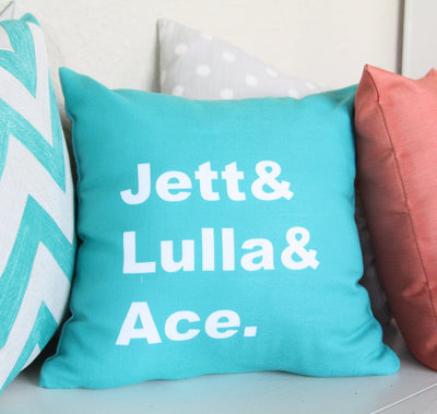 FAMILY NAME PERSONALIZED THROW PILLOW ( COVER ONLY )