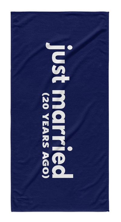 JUST MARRIED ANNIVERSARY BEACH TOWEL GIFT SET