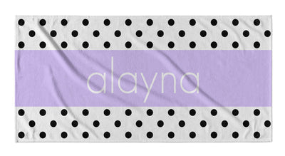 PERSONALIZED POLKA DOT STRIPE BEACH TOWEL