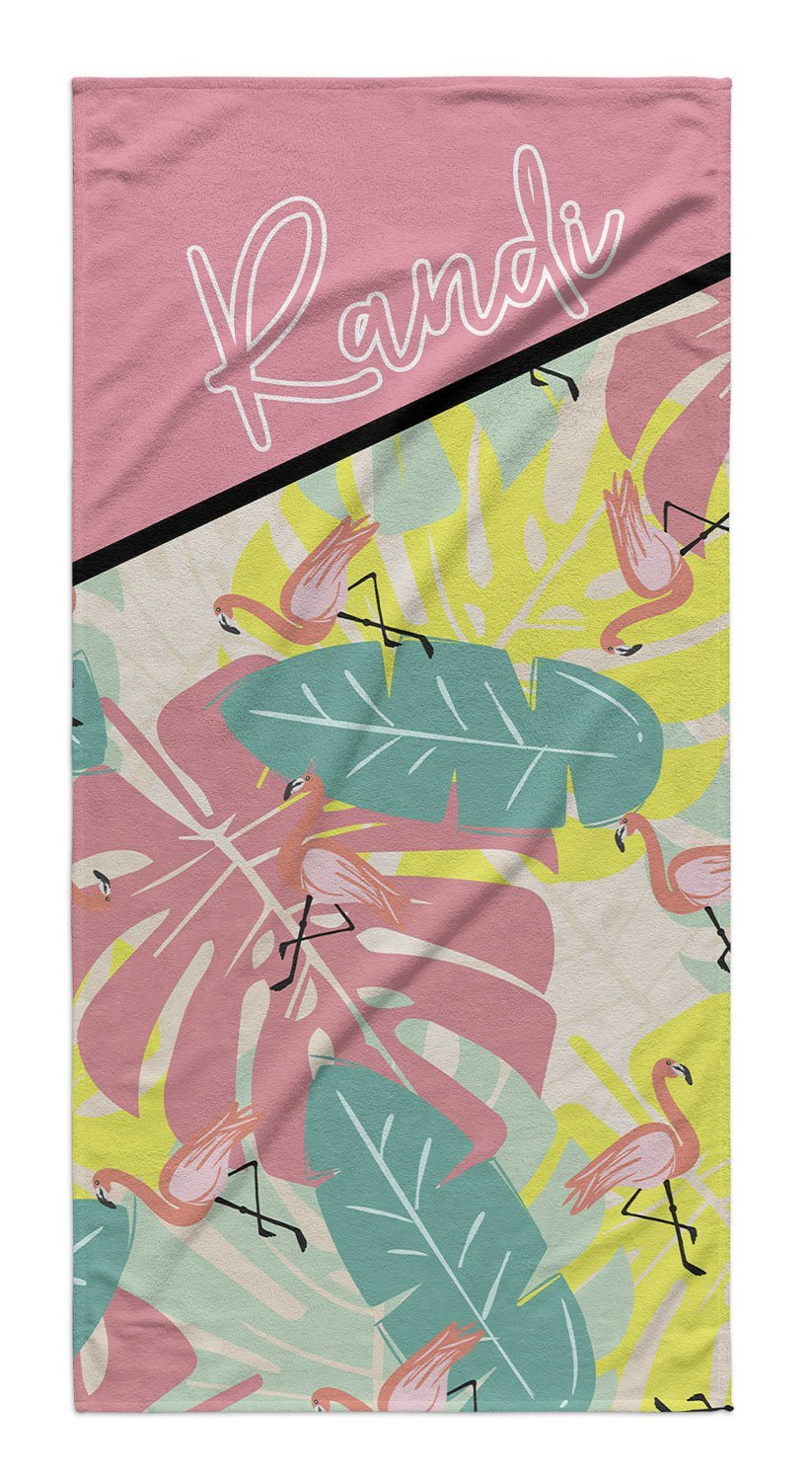 FLAMINGO PALM PERSONALIZED TOWEL
