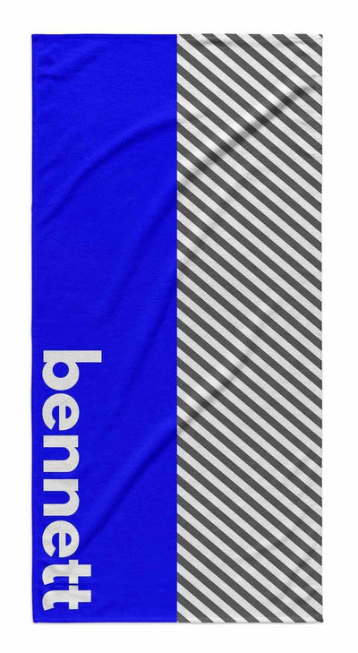 GRAY STRIPE COLOR BLOCK PERSONALIZED TOWEL