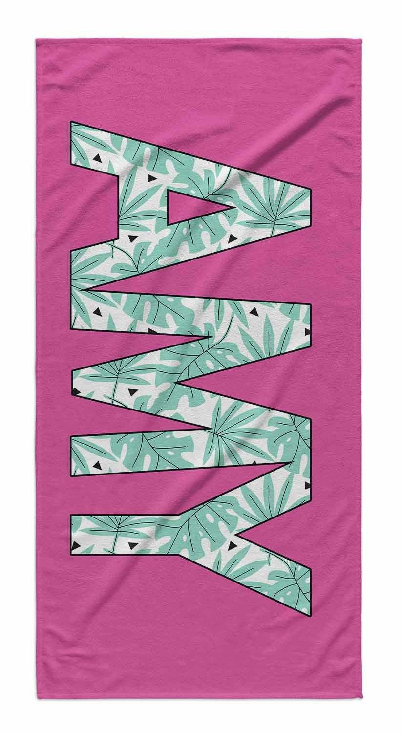 SOLID BOLD PATTERN NAME PERSONALIZED TOWEL - PALMS