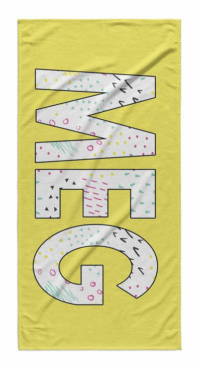 SOLID BOLD PATTERN NAME PERSONALIZED TOWEL - MARKERS