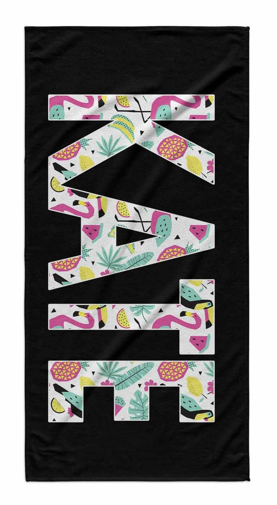 SOLID BOLD PATTERN NAME PERSONALIZED TOWEL-SUMMER FUN