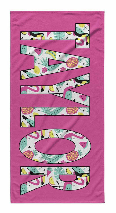 SOLID BOLD PATTERN NAME PERSONALIZED TOWEL - SUMMER FUN