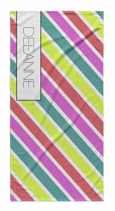 SUMMER STRIPE PERSONALIZED TOWEL