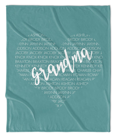 GRANDMA + GRANDKIDS PERSONALIZED THROW BLANKET