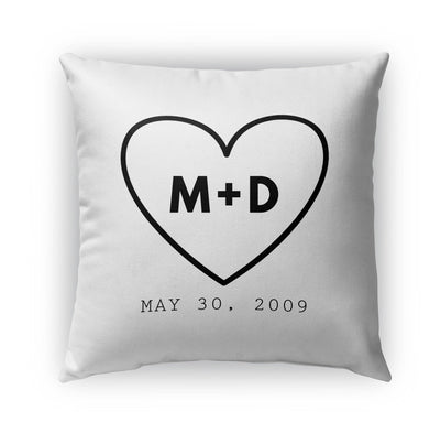 COUPLES HEART PERSONALIZED THROW PILLOW (COVER ONLY)