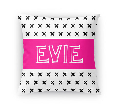 BLACK AND WHITE X STRIPE PERSONALIZED THROW PILLOW