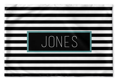 BLACK AND WHITE STRIPE PERSONALIZED PILLOW SHAM (MULTIPLE COLOR OPTIONS)