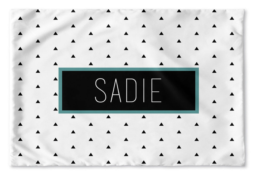 BLACK AND WHITE TRIANGLES PERSONALIZED PILLOW SHAM (MULTIPLE COLOR OPTIONS)