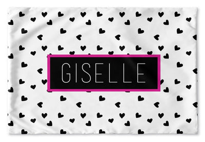 BLACK AND WHITE HEARTS PERSONALIZED PILLOW SHAM (MULTIPLE COLOR OPTIONS)