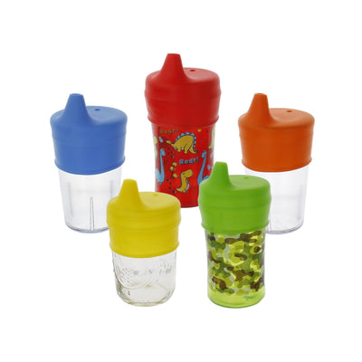 UNIVERSAL SILICONE SIPPY LIDS (FIVE PACK)