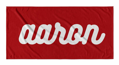PERSONALIZED SOLID RETRO CURSIVE BEACH TOWEL