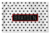 BLACK AND WHITE POLKA DOT PERSONALIZED PILLOW SHAM (MULTIPLE COLOR OPTIONS)