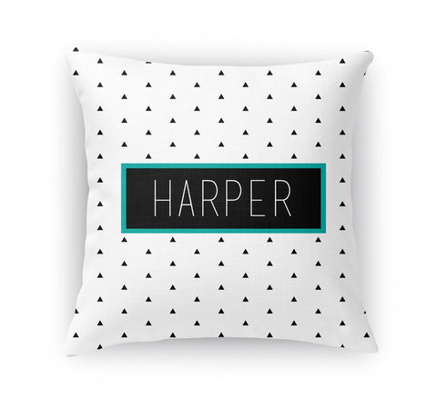 BLACK AND WHITE TRIANGLE PERSONALIZED THROW PILLOW