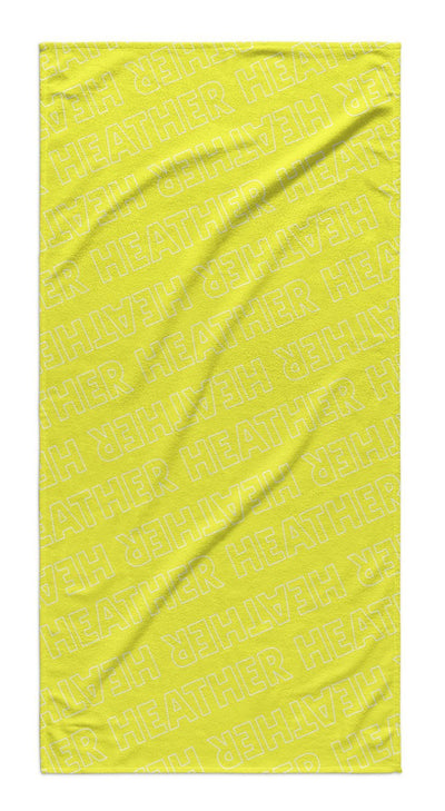 PERSONALIZED REPEAT BEACH TOWEL - OUTLINED