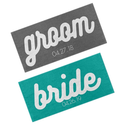 PERSONALIZED BRIDE AND GROOM BEACH TOWEL GIFT SET
