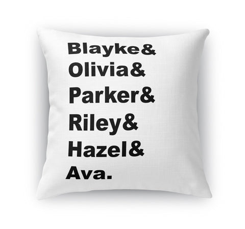 FAMILY NAME PERSONALIZED THROW PILLOW