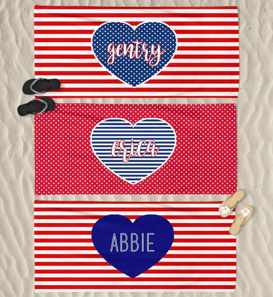 PERSONALIZED PATRIOTIC BEACH TOWEL (3 STYLES)