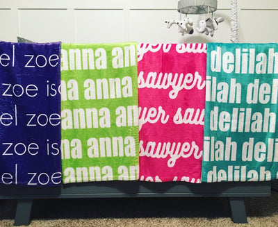 PERSONALIZED NAME BLANKET - BOLD (ALL COLOR OPTIONS)