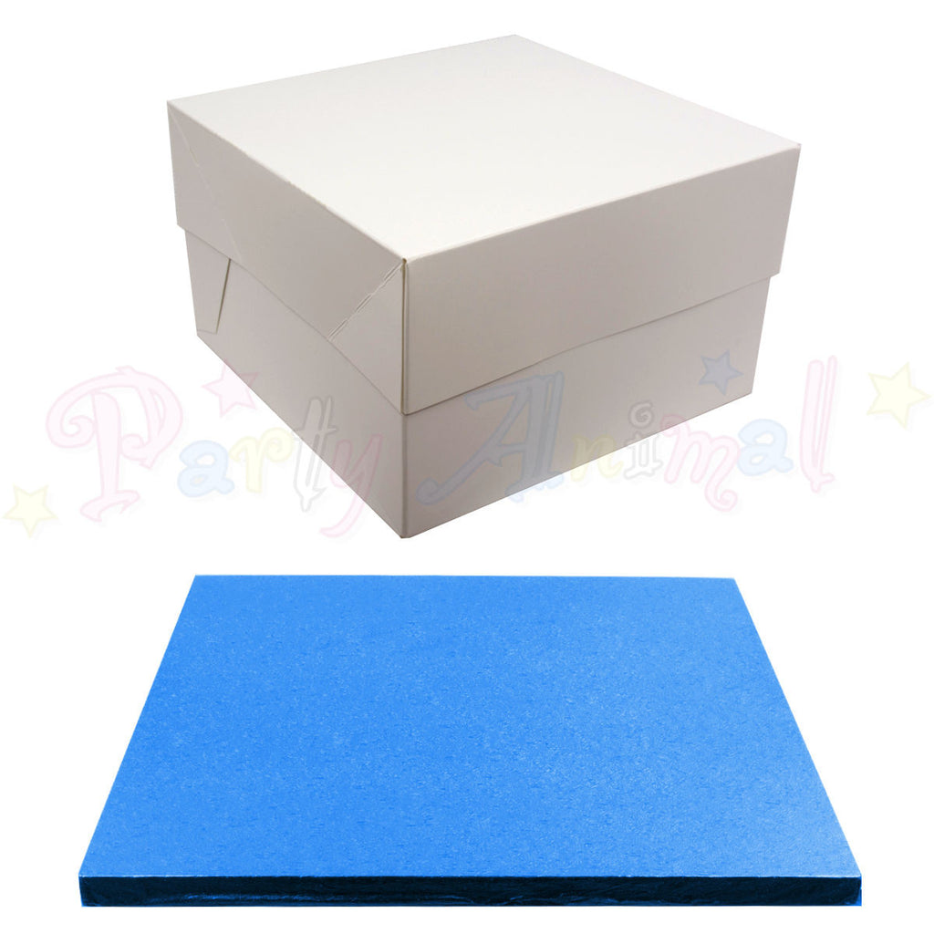 SQUARE Drum Cake Board and Box Set - DARK BLUE Drum - Choose Size