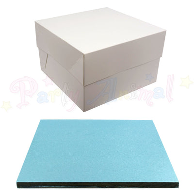 SQUARE Drum Cake Board and Box Set - LIGHT BLUE Drum - Choose Size