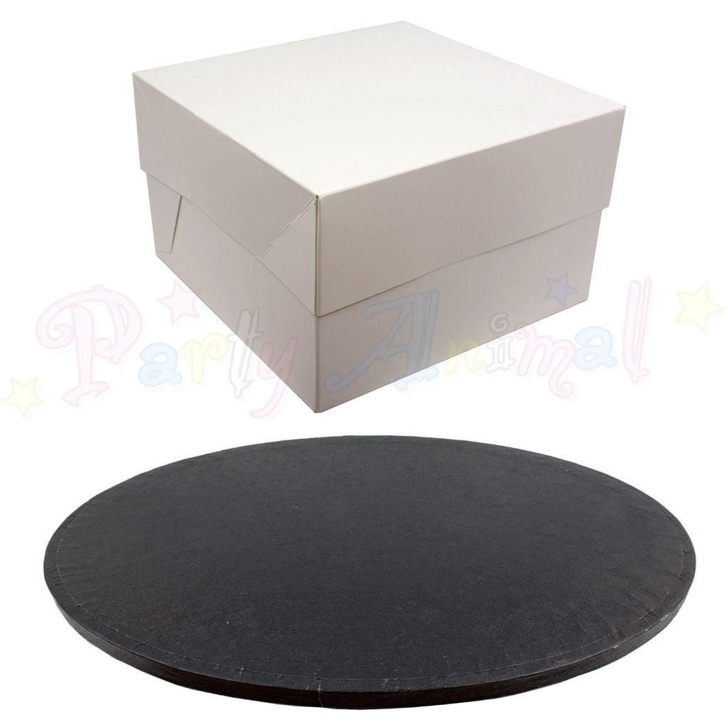 "ROUND Drum Cake Board and Box Set - 10"" (254mm) Black Foil"