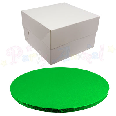 ROUND Drum Cake Board and Box Set - GREEN DRUM - Choose Size