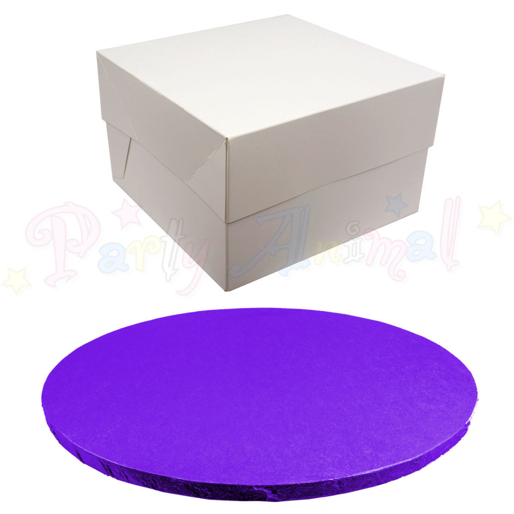 ROUND Drum Cake Board and Box Set - PURPLE Drum - Choose Size