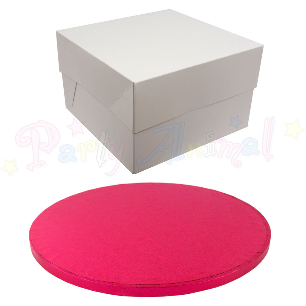 ROUND Drum Cake Board and Box Set - CERISE PINK DRUM - Choose Size