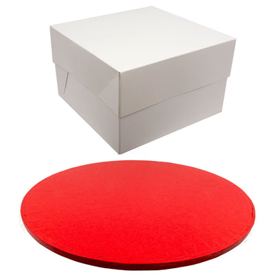 ROUND Drum Cake Board and Box Set - RED Drum - Choose Size
