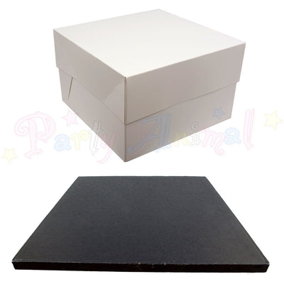 SQUARE Drum Cake Board and Box Set - BLACK Drum - Choose Size