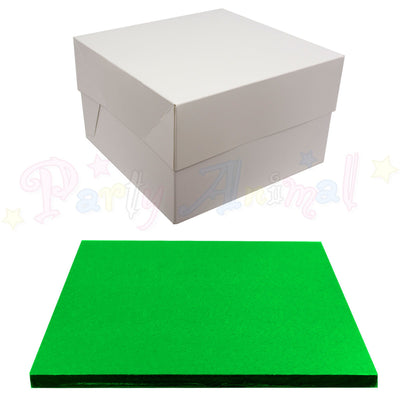SQUARE Drum Cake Board and Box Set - GREEN Drum - Choose Size