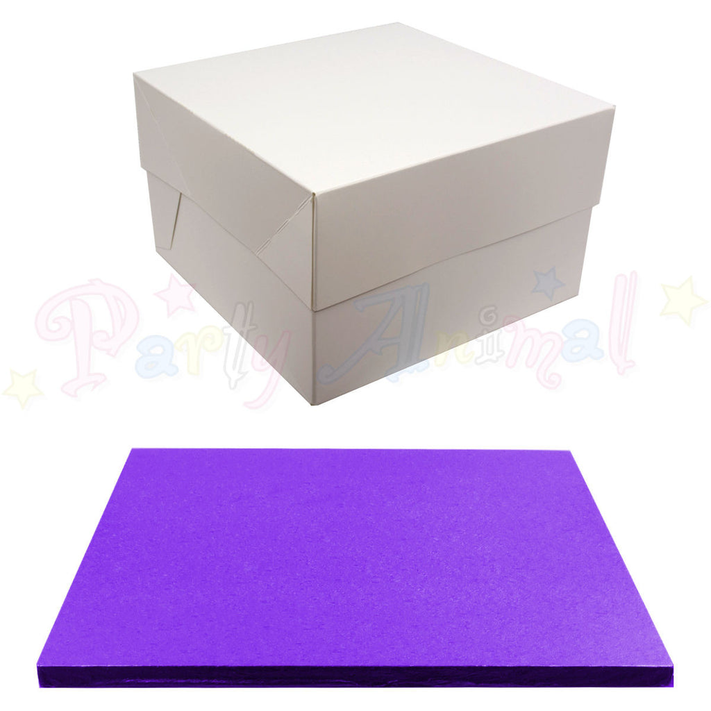 SQUARE Drum Cake Board and Box Set - PURPLE Drum - Choose Size