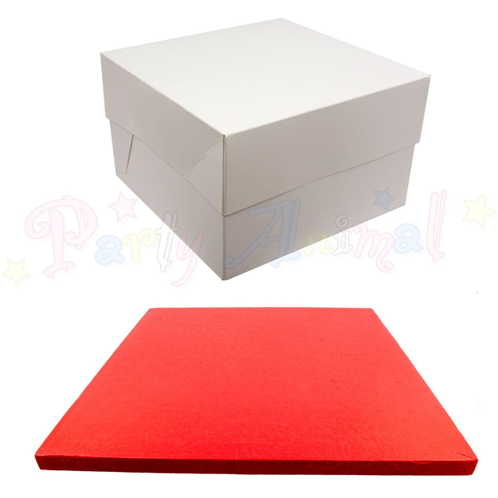 SQUARE Drum Cake Board and Box Set - RED Drum - Choose Size