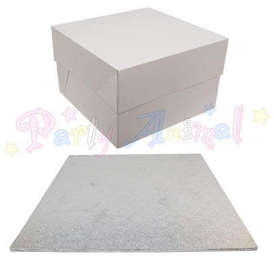 SQUARE Hardboard Cake Board and Box Set - Pack of 5 - Choose Size