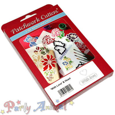 Patchwork Cutters STENCIL & CUTTER With Love / Heart