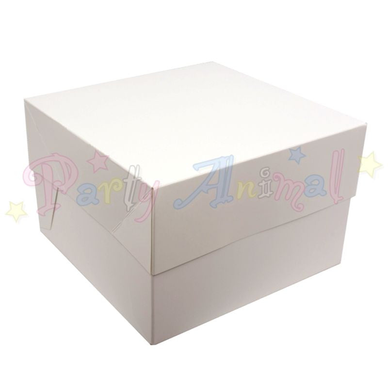 White Cake Boxes and Lids - Flat Pack - Pack of 10 - Choose Size