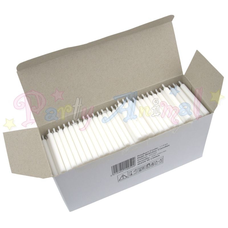 Bulk Pack of 500 Plain Birthday Cake Candles - White