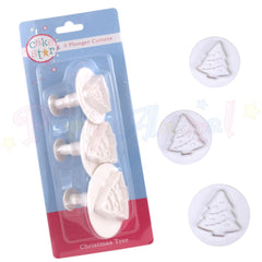 Cake Star Plastic Plunger Cutters - CHRISTMAS TREE set of 3