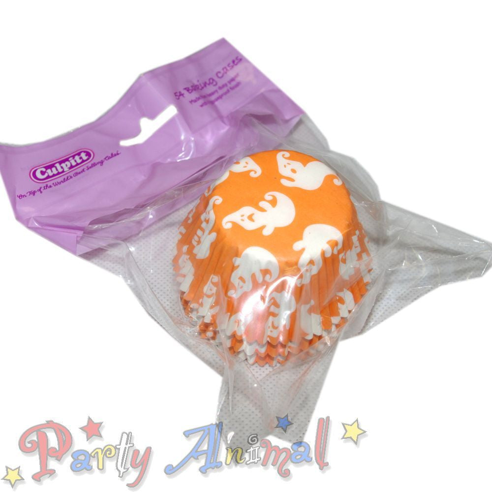 Cupcake/Muffin Baking Cases - Halloween Orange Ghost - approx 54/pack