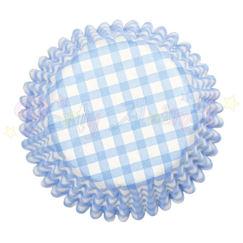 Cupcake/Muffin Baking Cases - Blue Gingham - approx 54/pack