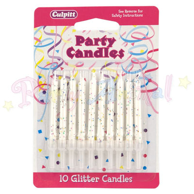 Culpitt Glitter Birthday Candles - White