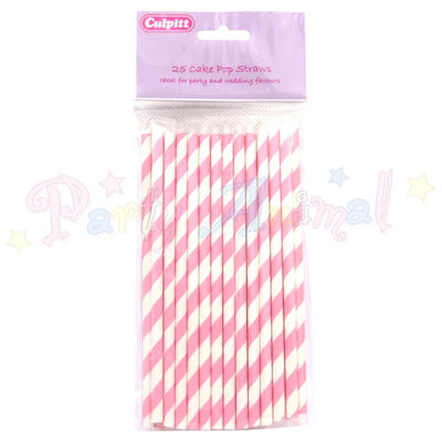 Culpitt White and Pink 6 Inch Cake Pop Straws - Pack of 25