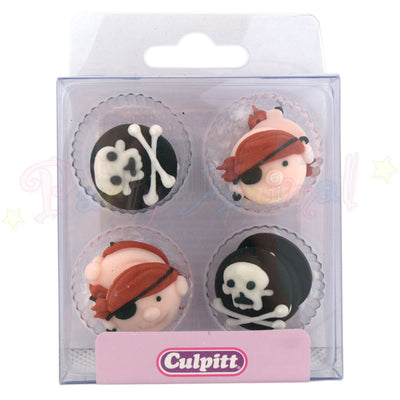 Culpitt Edible Piped Decorations PIRATE Set of 12 Cupcake Toppers