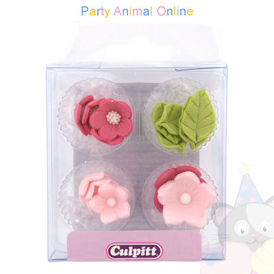 Culpitt Edible Decorations PINK FLOWERS Cupcake Toppers