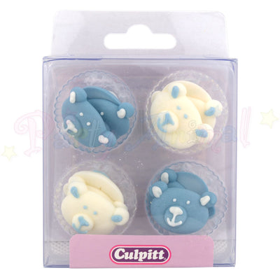Cupcake Toppers Edible Handmade Blue Teddy Bear Faces