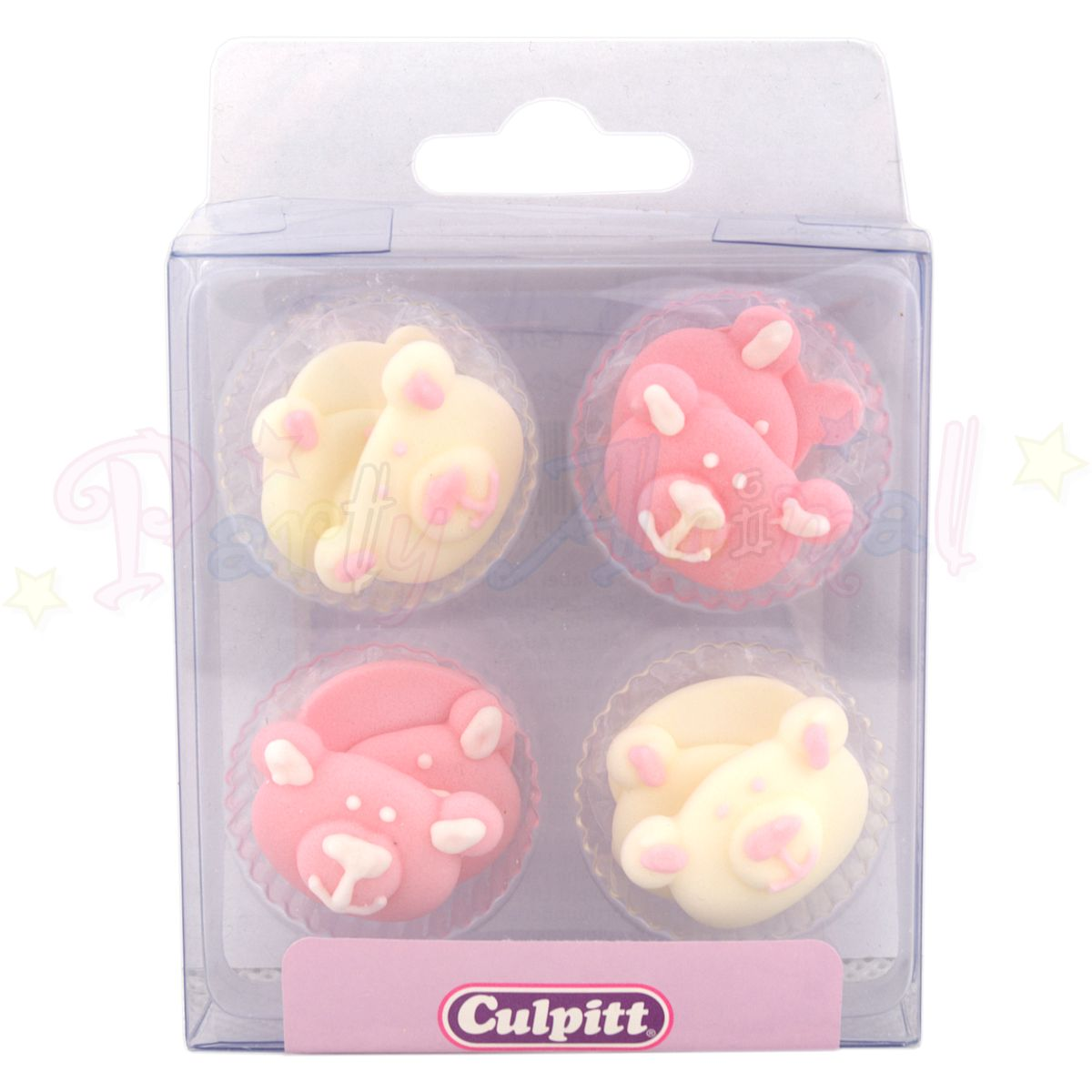 Culpitt Edible Piped Decorations PINK BEAR Set of 12 Cupcake Toppers