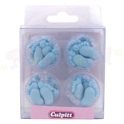 Cupcake Toppers Edible Handmade Blue Feet